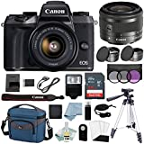 Canon EOS M5 Digital Camera With EF-M 15–45mm f/3.5–6.3 IS STM Lens + Canon M5 Deluxe Accessory Bundle - M5 Canon Mirrorless Camera Includes EVERYTHING You Need To Get Started
