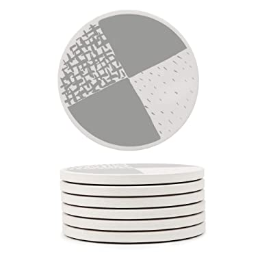 GOSHELL 6-Piece Geometric Stone Absorbent Round Coasters with Cork Back, Stylish Drink Spills Ceramic Coasters Set