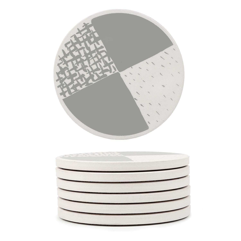 GOSHELL 6-Piece Geometric Stone Absorbent Round Coasters with Cork Back, Stylish Drink Spills Ceramic Coasters Set