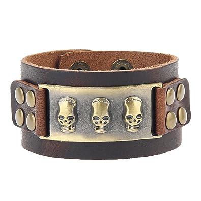 0b52b7db8ff Baosity Bracelet Crâne Homme En Cuir Synthétique Style de Punk Meilleur  Bijoux Cadeau