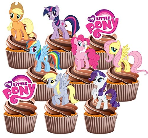 AKGifts My Little Pony Party Pack, 36 Cup Cake Toppers - Edible Stand Up Decorations (7 - 10 BUSINESS DAYS DELIVERY FROM UK)