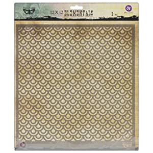 Prima Marketing PSTEN-60438 Elementals Stencil, 12 by 12-Inch, Scales