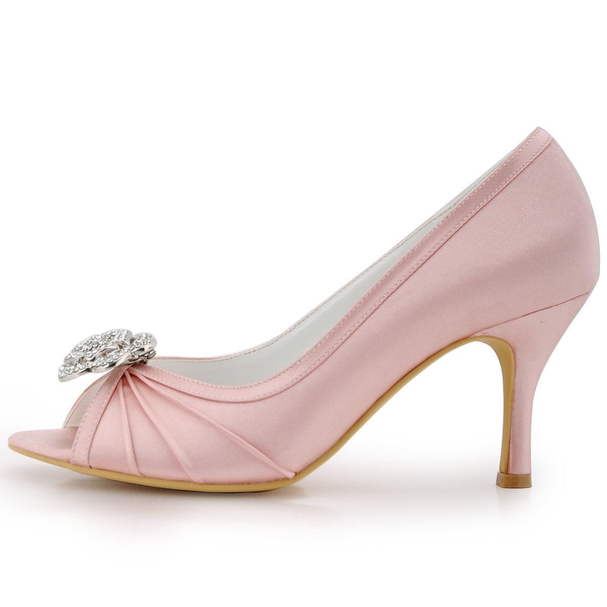 Elegantpark EP2094AF Women s Peep Toe AF01 Removable Shoe Clips Prom High  Heel Satin Pleated Rhinestones Evening Court Shoes Pink UK 9  Amazon.co.uk   Shoes ... 621e930fa73d