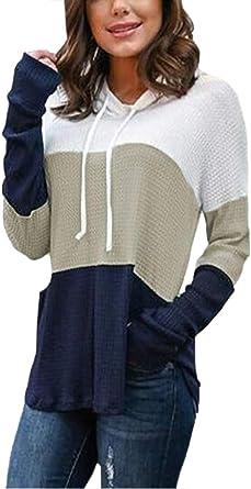 Women Casual Stripe Hoodie Active Loose Long Sleeve Pullover Drawstring Hooded Sweatshirt Jumper Top