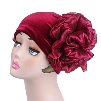 Women Flower Stretchy Beanie African Turban Stretchable Glitter Chemo Hair Loss Head Wrap Turban (Wine