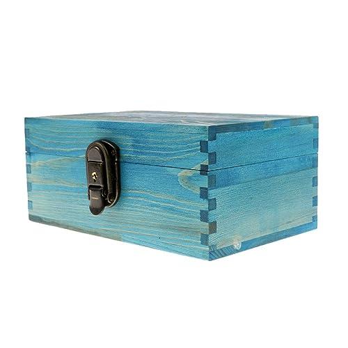 Cajas de Joyería Antiguo con Bloqueo Metal y Llave Pecho Baratija - Azul: Amazon.es: Joyería