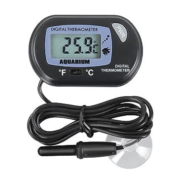 AKUNSZ Termómetro de Acuario de LCD Monitor Digital con Sonda y Ventosa para Acuario, Pecera