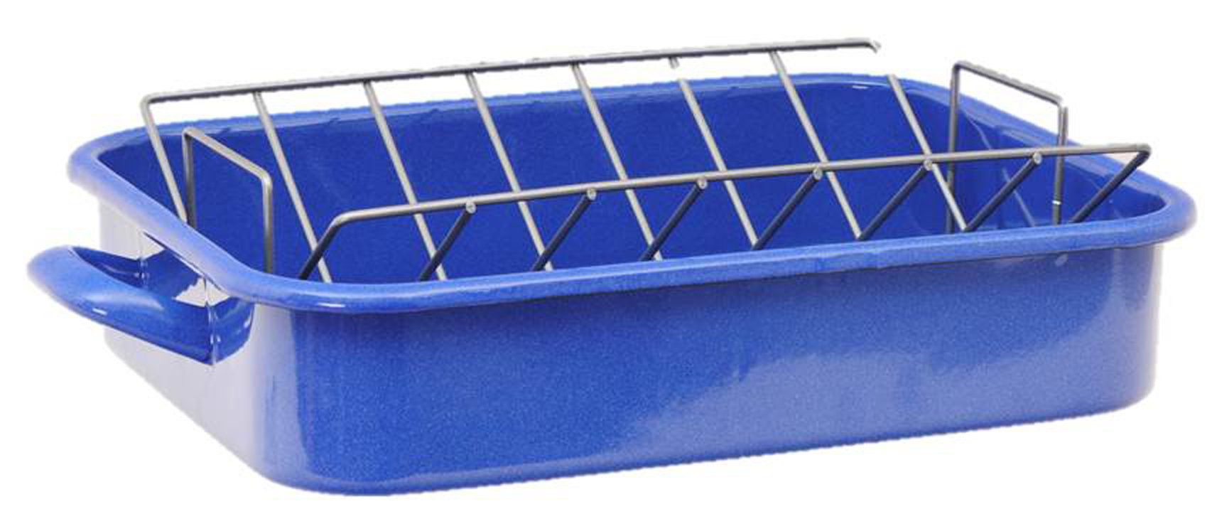 Granite Ware Heavy Gauge Open Roaster with Nonstick V-Rack, Blue