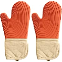 Flawsome's Silicone Dutch Oven Mitt - 1 Pair - Extra Long Non Slip Food Grade Silicone Pot Holders with Quilted Liner…
