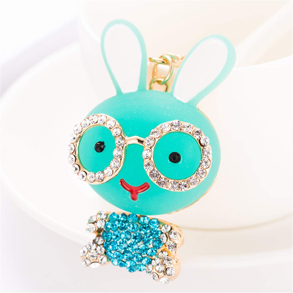 Cute Kawaii Resin Rhinestone Animal Rabbit with Glasses Shape Auto Key Ring Hooks Keychain for Women Purse Bag Charms Ornaments (Green)