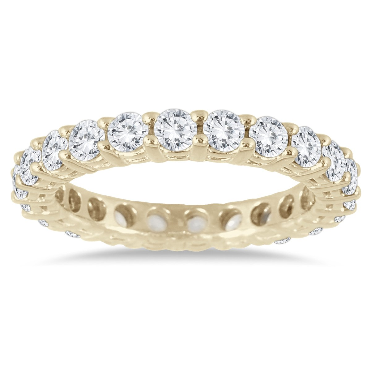 AGS Certified 2 Carat TW 14K Yellow Gold Diamond Eternity Band (K-L Color, I2-I3 Clarity)