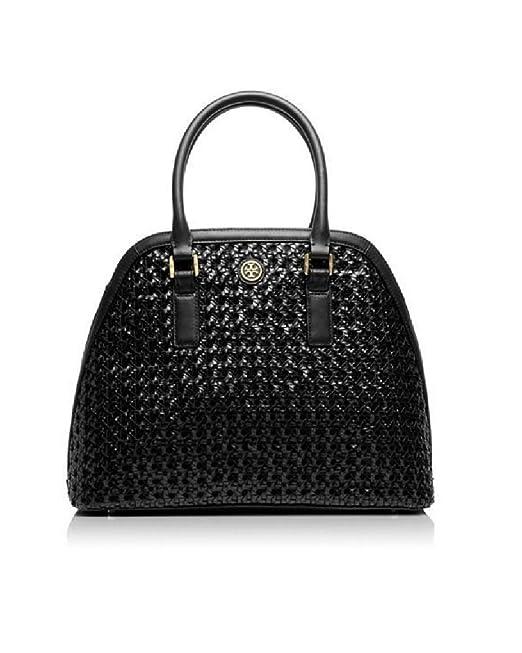 bec6b7b0112 Tory Burch Robinson Basket-Weave Open Dome Satchel Black 11149836   Amazon.ca  Clothing   Accessories