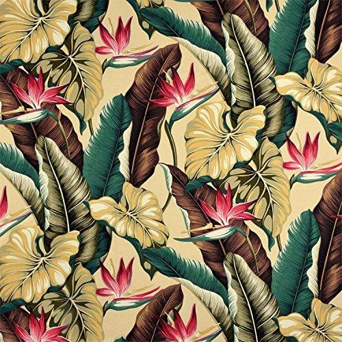 (Bird of Paradise Natural Barkcloth Fabric - By the Yard)