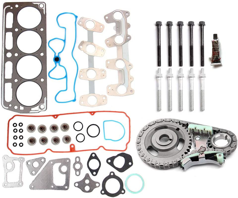 ECCPP Engine Timing Part Chain Kit Head Gasket Set Bolts Replacement fit for 1998-2003 for Chevrolet GMC Isuzu Pontiac 2.2L