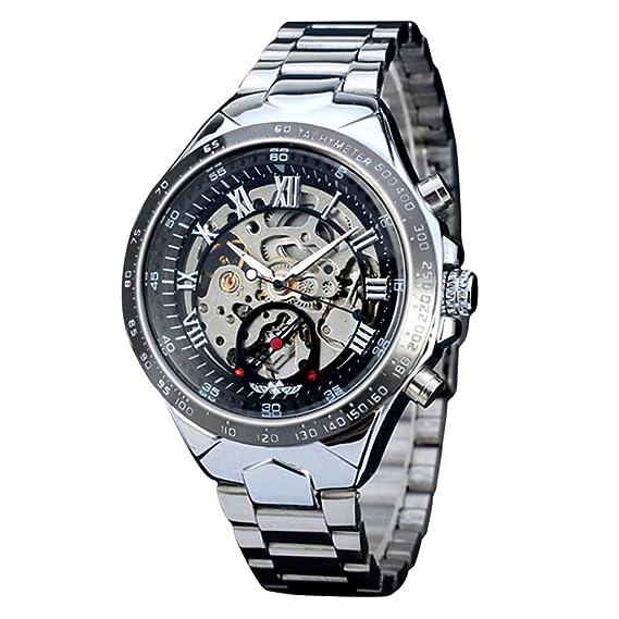 Lary Intel ruso esqueleto automático relojes para hombre reloj de pulsera de acero inoxidable de plata