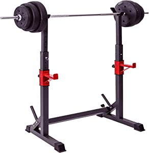YHAR | Barbell Rack Stand | Heavy Duty DIP Stand | Multi-Function Squat Rack with Adjustable Folding, Height & Width - Gym Fitness Equipment for Home/Garage Training, Weightlifting - Black/Red 580lbs