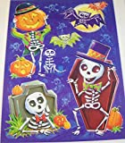Halloween Reusable Window Cling ~ Human, Kitten, and Bat Skeleton Gathering (5 Clings, 1 Sheet)