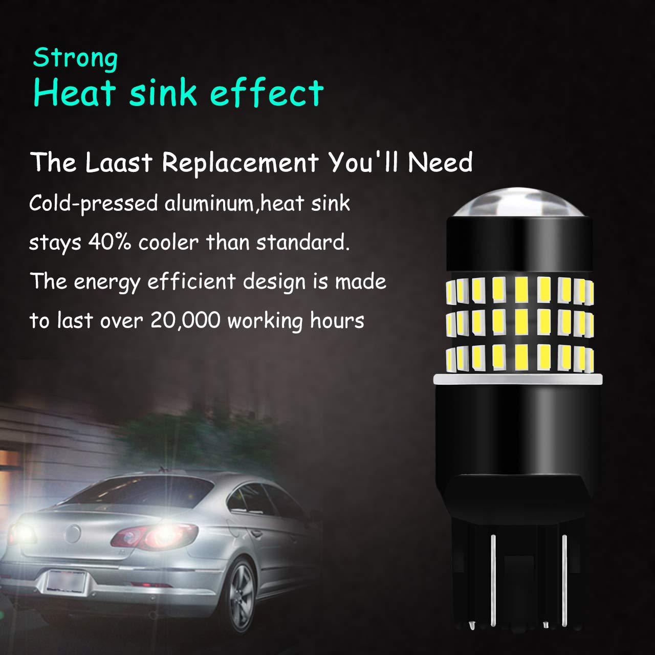 KaTur 2pcs 900 Lumens 1156 BA15S 7506 1073 1095 1141 Base Super Bright 3014 78SMD Lens LED Bulbs Brake Turn Signal Tail Backup Reverse Brake Light Lamp White 12V 4W