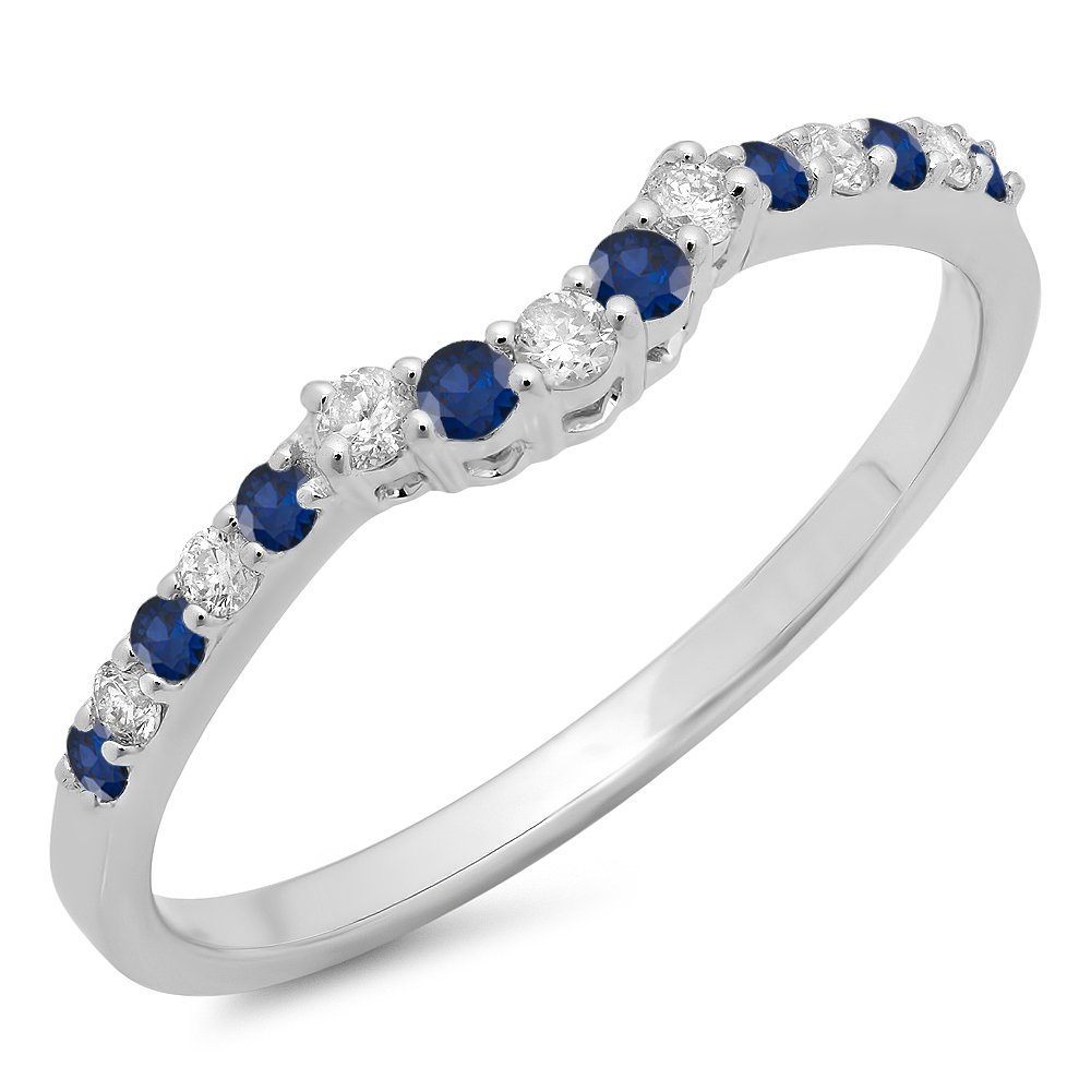 Round Blue Sapphire & White Diamond Ladies Contour Wedding Stackable Ring, 14K White Gold, Size 6 by Dazzlingrock Collection