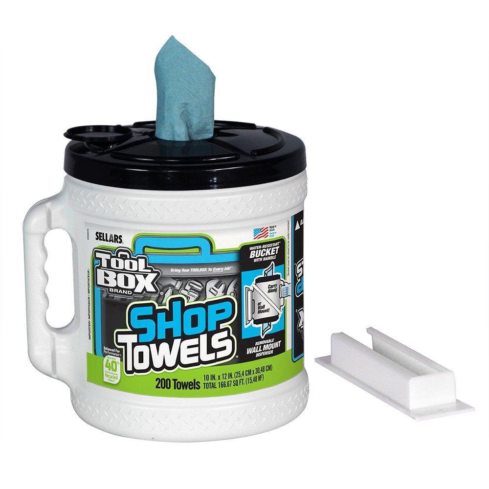 Sellars 55208 ToolBox Shop Towels Dispenser Bucket, 12'' Length x 10'' Width, Blue (2 Buckets of 200 Sheets)