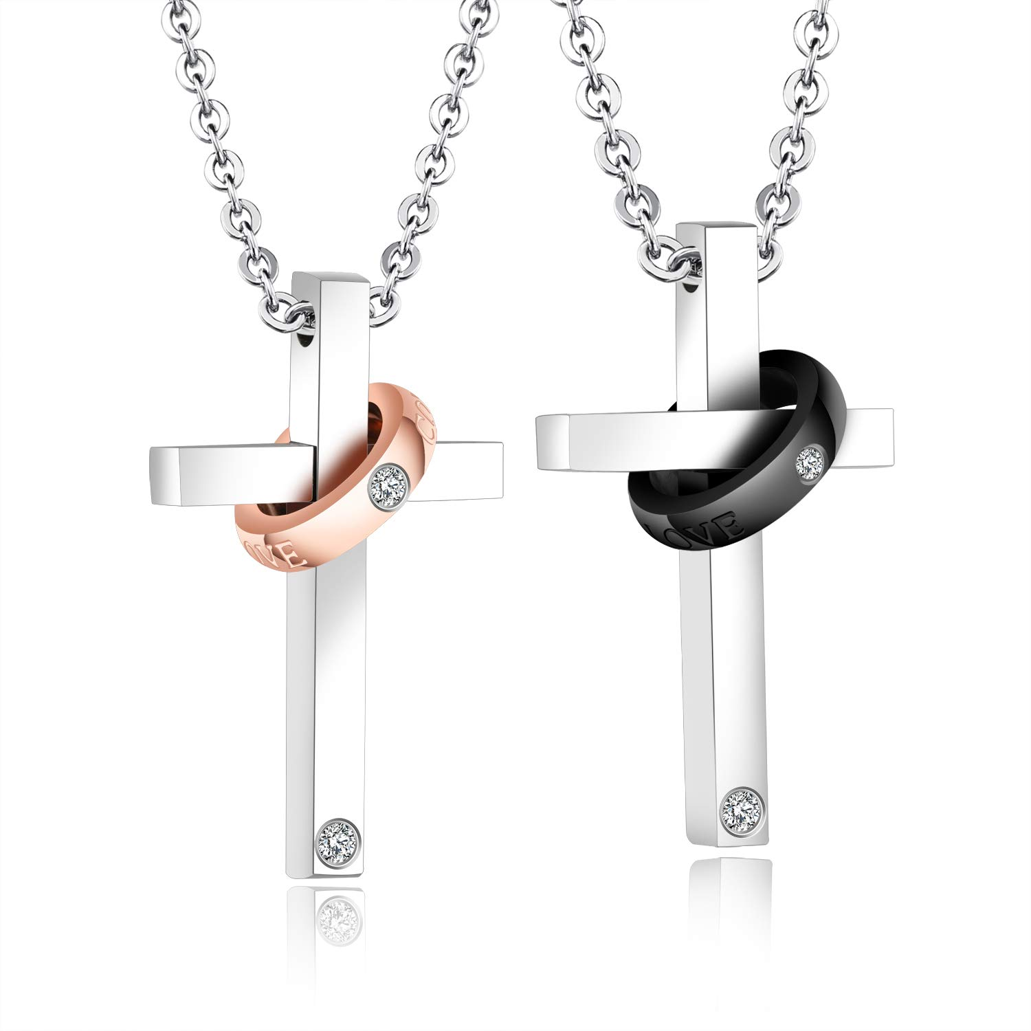 Amazon Mintik Couples Religious Cross Pendant Necklace Stainless Steel Love Wedding Bands Prayer Mothers Fathers Jewelry: Wedding Band With Cross Pendant At Websimilar.org