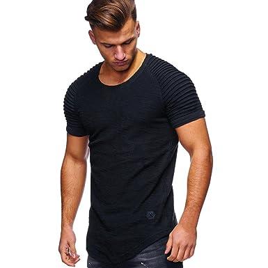 0b85804f03d6 Herren Sommer Shirt Slim Fit Sport Kurzarm-Shirt O Hals Muscle Oberteile  Bluse,Hevoiok