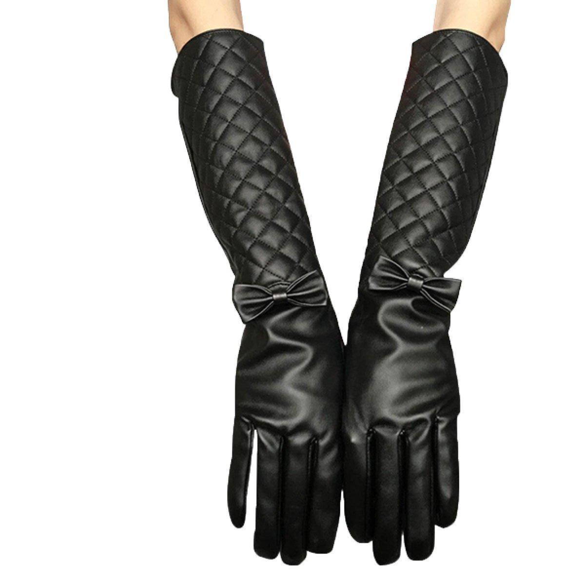 GBT Mangas medias largas cálidas femeninas Tubo largo lindo alargadas Era delgado Guantes largos del codo del brazo,Negro,Un tamaño
