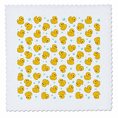 (3dRose Cute Rubber Duck Pattern - yellow ducks - kawaii ducky duckie - duckies and soap bubbles on white - Quilt Square, 6 by 6-inch (qs_112951_2))