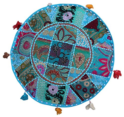 "SouvNear Southwest Ottoman Foot Stool Pouf - 18.5"" x 14"" Bohemian Pouf Cover - Handmade in Cotton Fabric -  with Patchwork on Blue Base Living Room Decor"