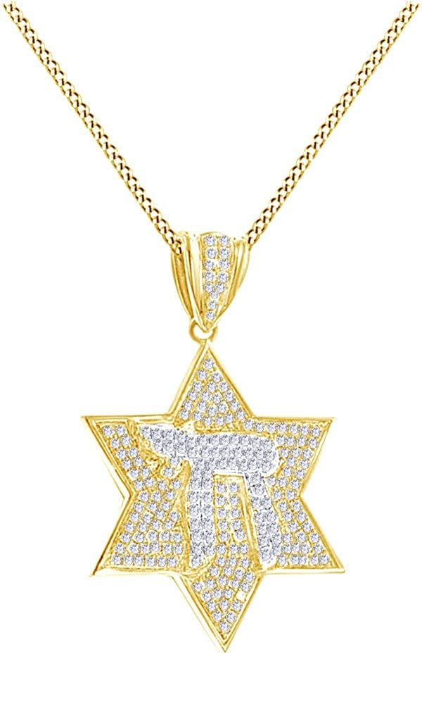 Wishrocks 1.11Ct Round Cut White CZ Hip Hop Chai Star Pendant in 14K Gold Over Sterling Silver