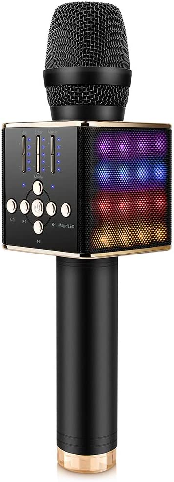Sopu Wireless Bluetooth Karaoke Microphone, Handheld Singing Microphone Speaker with Led Lights, Magic Voice Rechargeable Karaoke Mic Home/Party Machine for iPhone/iPad/PC/All Smartphones
