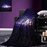 smallbeefly Galaxy Custom printed Throw Blanket Nebula Cloud in Milky Way Infinity in Interstellar Solar System Design Print Velvet Plush Throw Blanket Purple Dark Blue