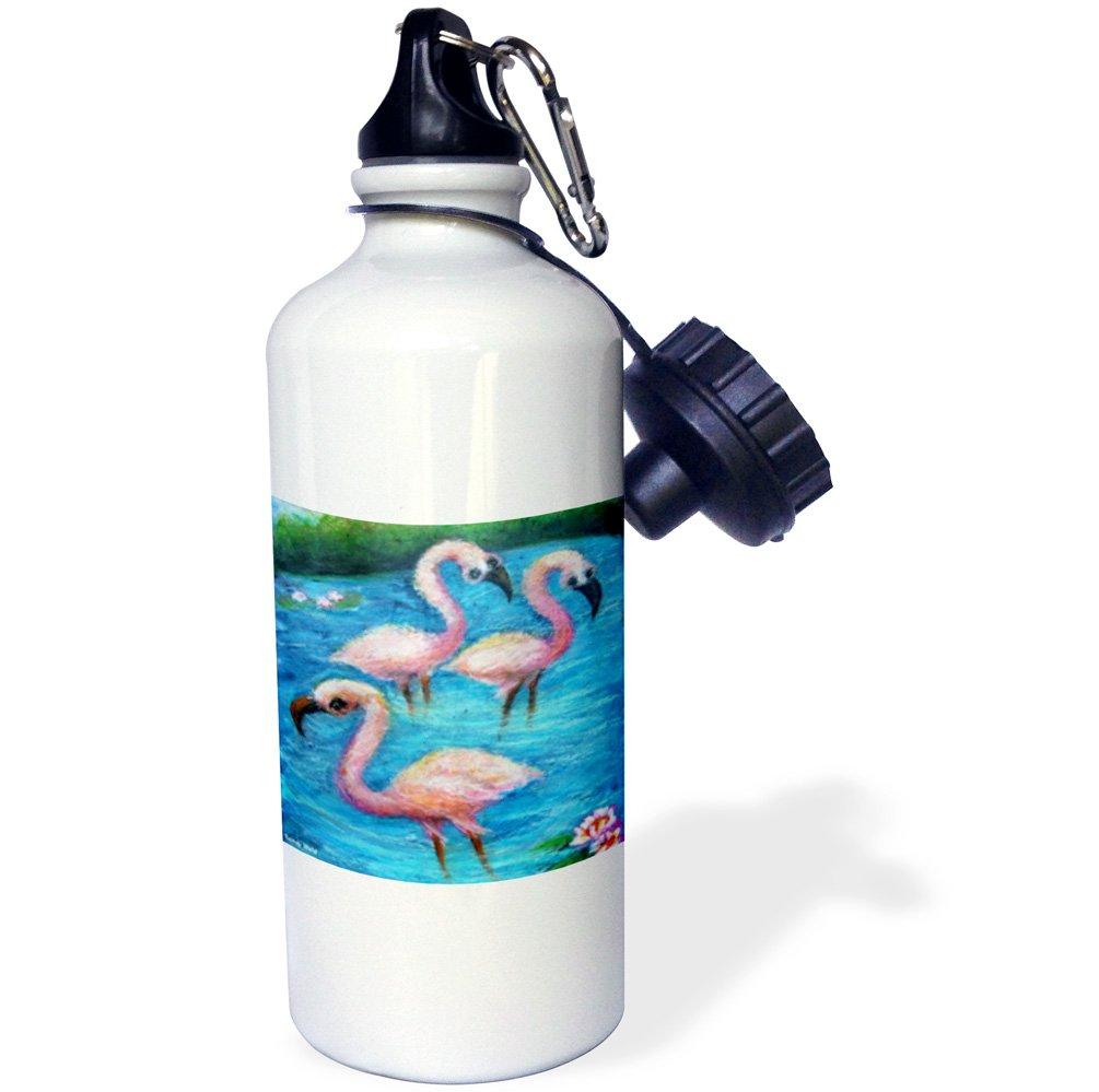 21 oz 3dRose wb/_66369/_1 Flirty Flamingos Sports Water Bottle White