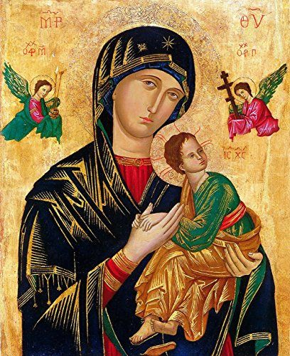Our Lady of Perpetual Help Picture Icon UNFRAMED POSTER A2 Virgin Mary Painting Madonna and Child Byzantine (Icon Unframed)