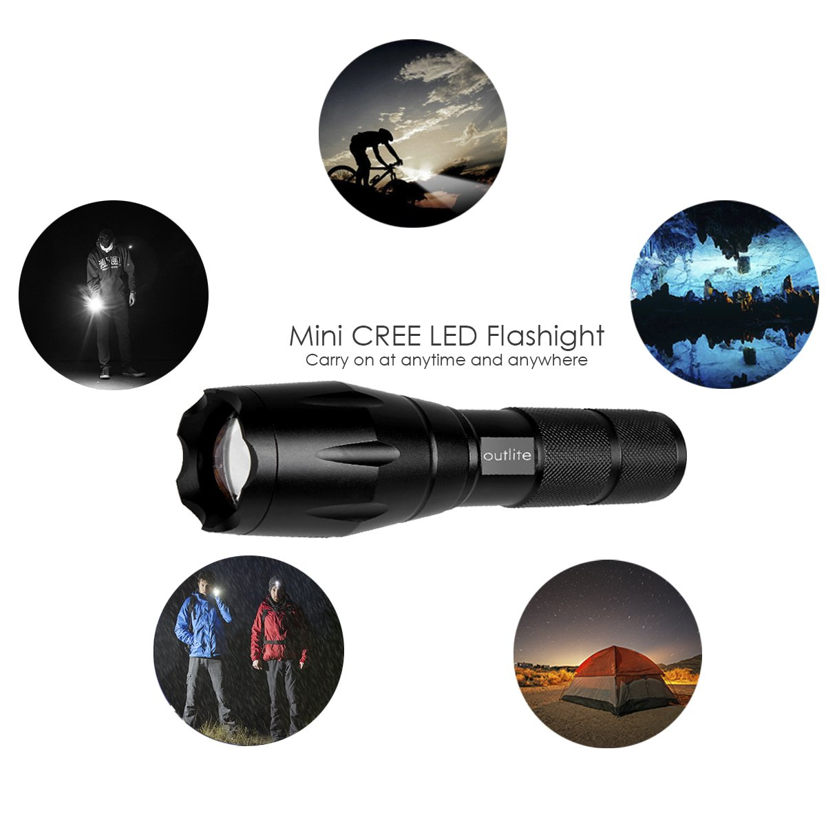 Outlite A100 Portable Ultra Bright Handheld LED Flashlight with Adjustable Focus and 5 Light Modes, Outdoor Water Resistant Torch, Powered Tactical Flashlight for Camping Hiking etc by outlite (Image #8)