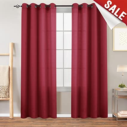 High Quality 2 Panel 63 Inch Burgundy Curtains For Bedroom Casual Weave Linen Textured Living  Room Kitchen Grommet