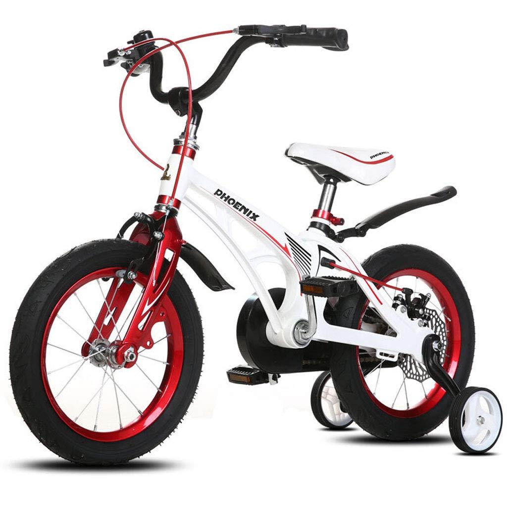 【高い素材】 子供のためのスタビライザー付ホワイト/ブラック14 14in/16インチ男の子と女の子の自転車|自転車ディスクブレーキセキュリティパッケージを含む2歳から14