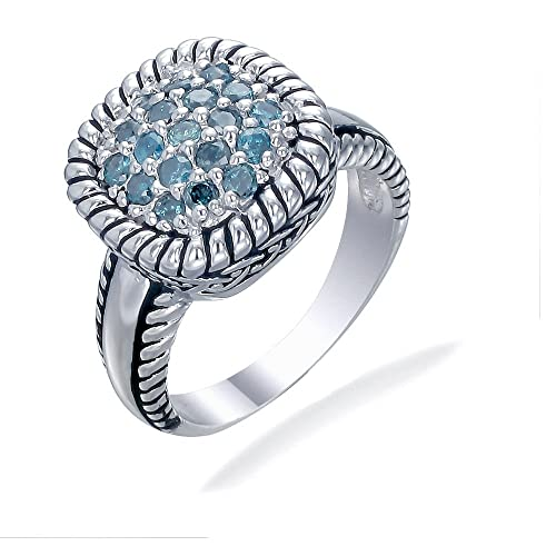 0.50 CT Blue Diamond Ring .925 Sterling Silver