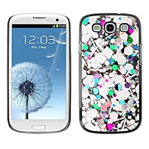 Design for Girls Plastic Cover Case FOR Samsung Galaxy S3 Abstract Teal Glitter White Purple OBBA