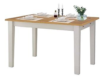 Loft24 Tavian Esstisch Esszimmertisch Ausziehbar 120 160 Cm Küchentisch  Holztisch Esszimmer Landhaus Kiefer Holz Weiß