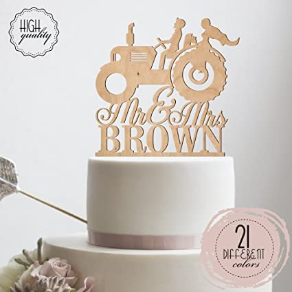 Amazon.com: Mr & Mrs Farmer Southern Style Wedding Cake Topper ...