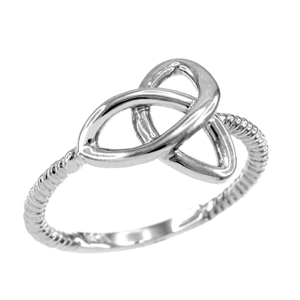 High Polish 14k White Gold Twisted Style Rope Band Trinity Knot Ring (Size 11)