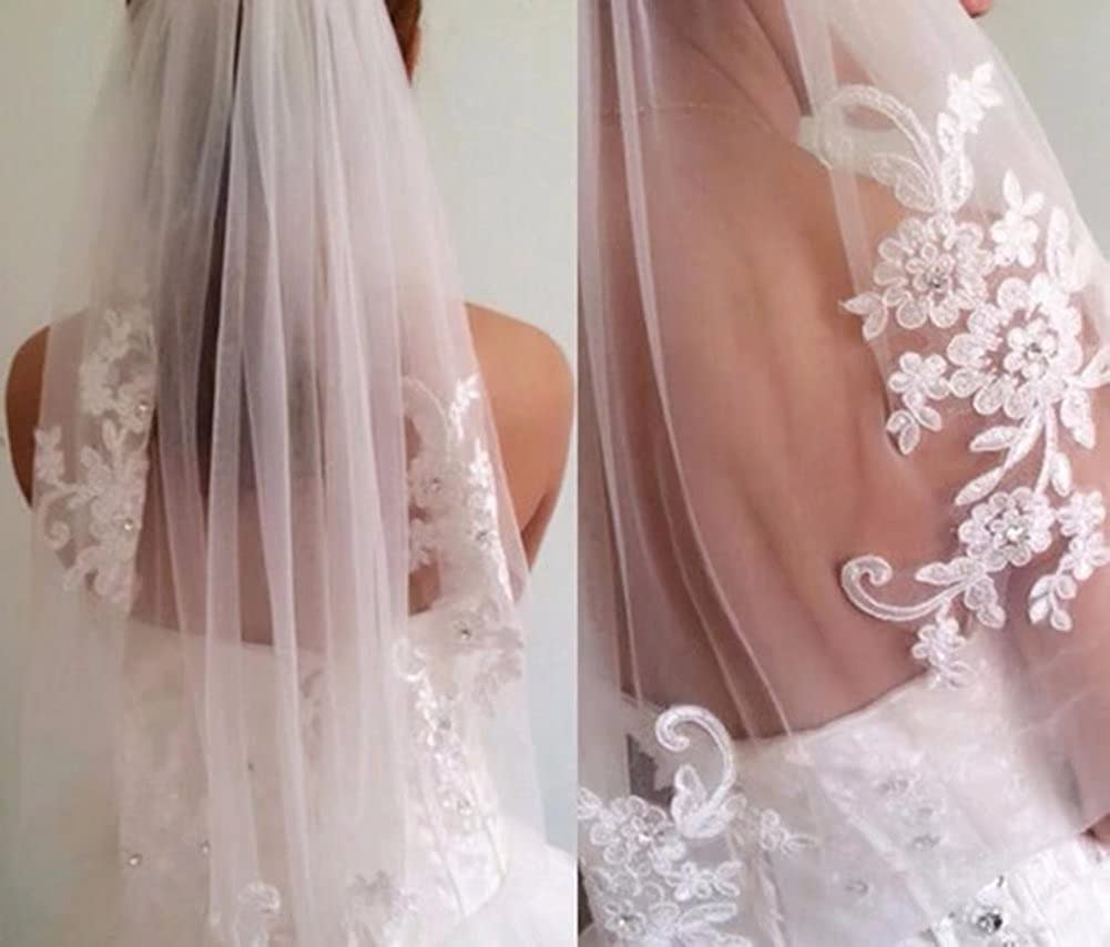 Sapphire bridal Womens Crystal Appliqued Tulle Short Wedding Veil with Comb
