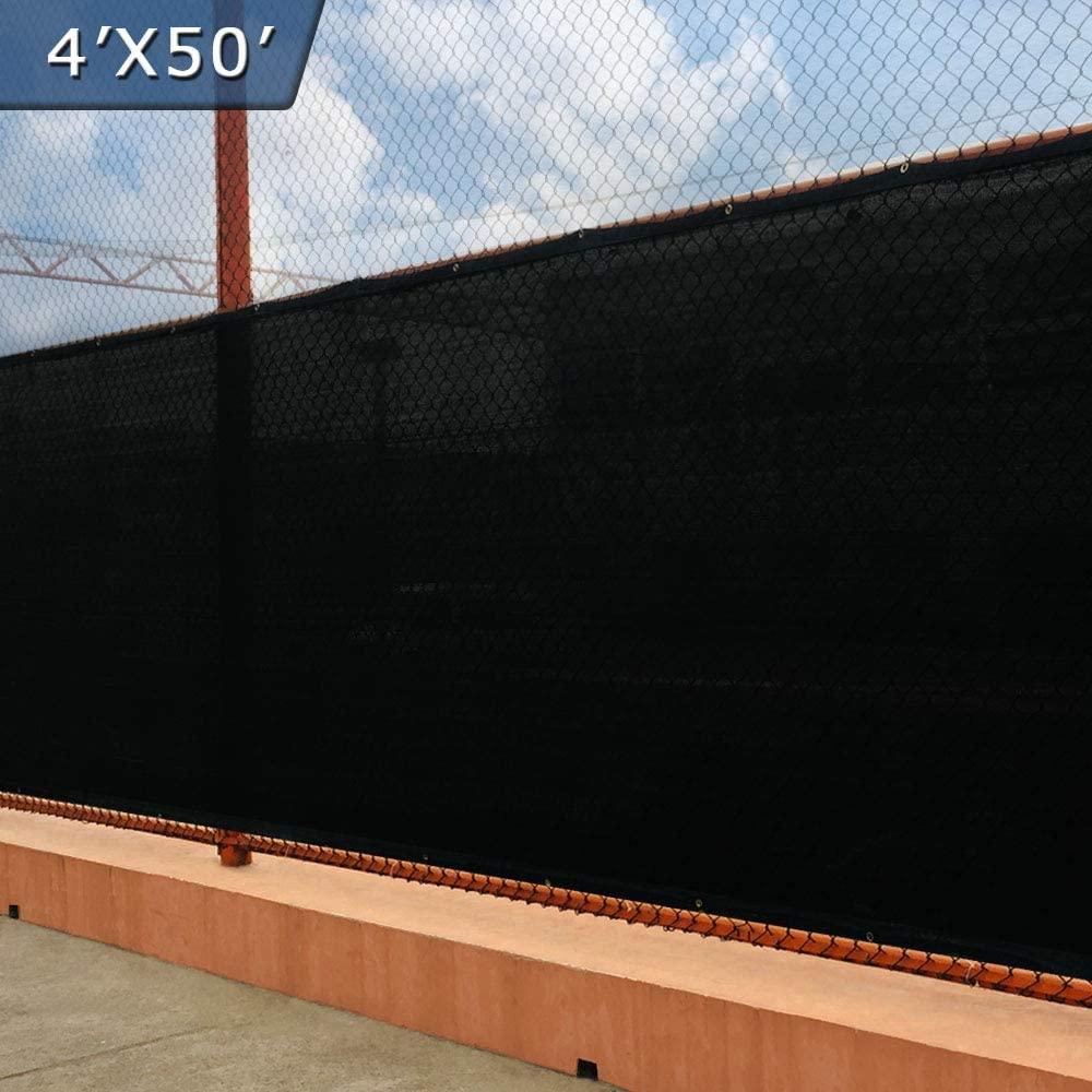 UPGRADE Fence Privacy Screen Fence 4' x 50' Shade Cover with Brass Grommets Heavy Duty Pefect for Outdoor Back Yard - Black