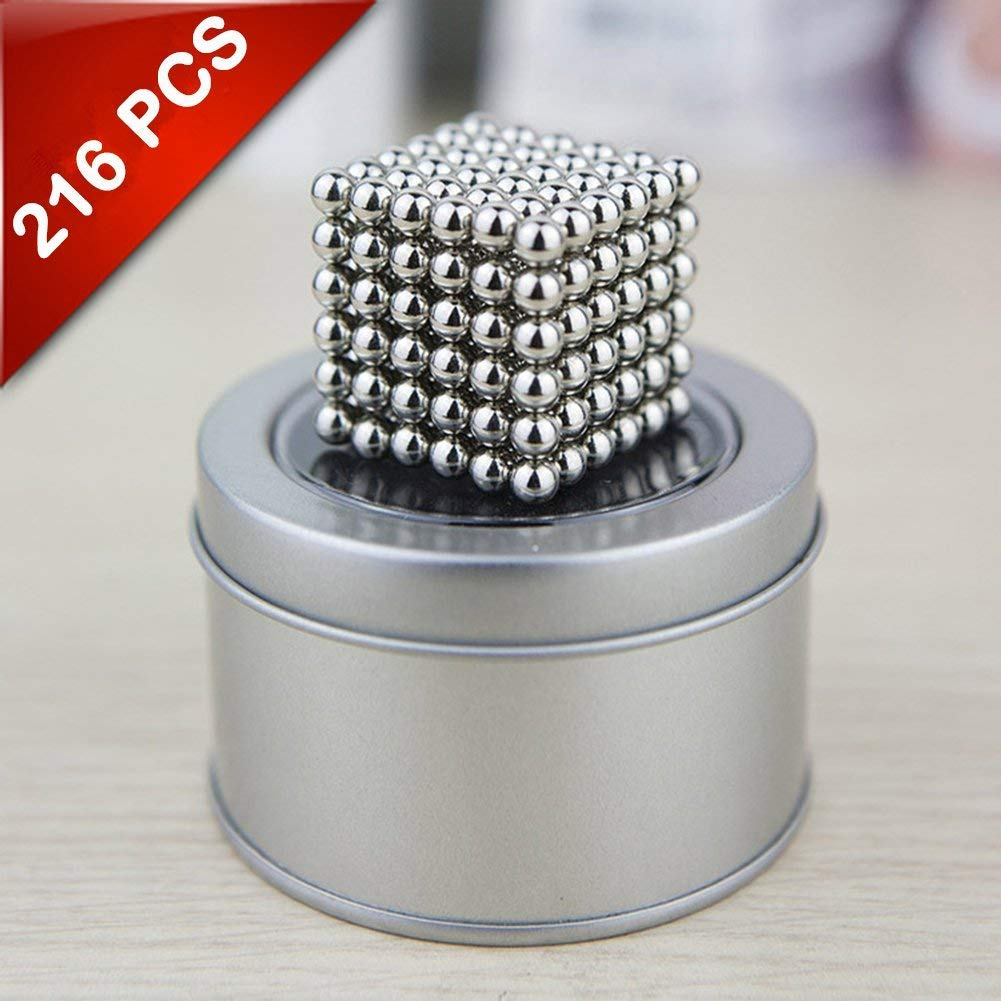 Home and Everywhere EVERMARKET Magnetic Sculpture Toy for Intelligence Development 5mm Magnetic Fidget Blocks Ball 216 pcs,1 Box with a Metal Gift Box a Great Toy for Office
