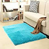 Queenmore Shag Modern Indoor Outdoor Area Rugs, Ultra Soft Runner for Living Room Sitting Room Nursery Room Office with Non-Skid Grips 31.2'X46.8' Blue