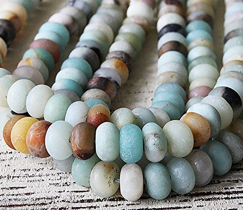 (jennysun2010 5x8mm Natural Matte Colorful Amazonite Gemstones Rondelle Spacer Loose Beads 15.5 inches 1 Strand for Necklace Earrings Jewelry Making Crafts Design)