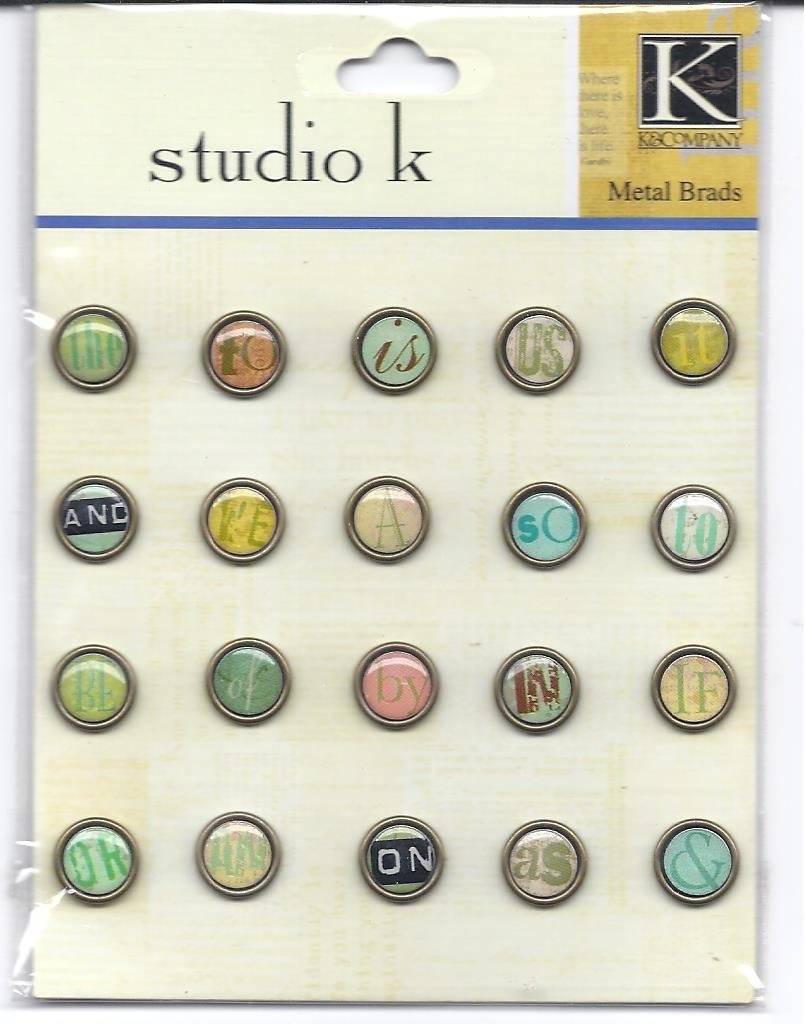 Tiny Brads 20//package K/&company Studio K Metal Art Embellishments