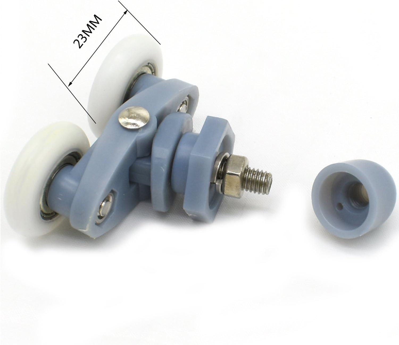 Clarmonde Set of 8 Twin Shower Door Rollers Runners wheels Pulleys 20mm Wheel Diameter Top Bottom Bathroom Replacement Parts YL015,20MM,Set of 8