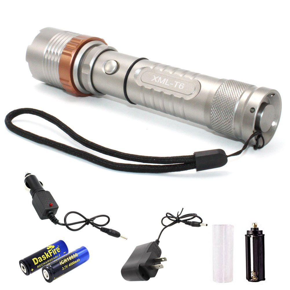 Super Bright Flashlight With Rechargeable Battery Charger, XML T6 LED 1000 High Lumen Zoomable Adjustable Focus (TAC10)